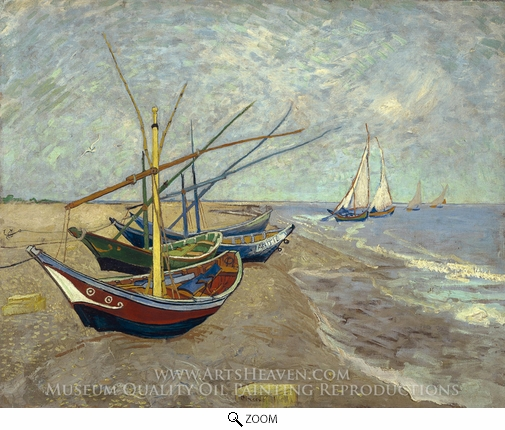Vincent Van Gogh, Fishing Boats on the Beach oil painting reproduction