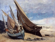 Fishing Boats on the Deauville Beach painting reproduction, Gustave Courbet