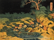 Fishing by Torchlight in Kai Province, from Oceans of Wisdom painting reproduction, Katsushika Hokusai