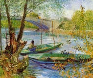 Fishing in the Spring, Pont de Clichy painting reproduction, Vincent Van Gogh