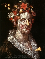 Flora painting reproduction, Giuseppe Arcimboldo