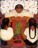 Flower Festival painting reproduction, Diego Rivera