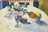 Flowers and a Bowl of Fruit on a Table painting reproduction, Paul Gauguin