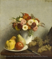 Flowers and Fruit painting reproduction, Henri Fantin-Latour