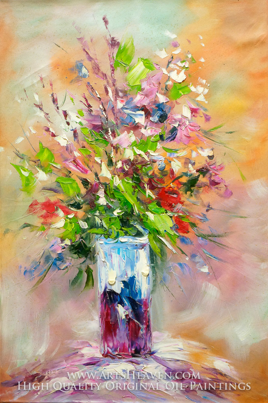 Reproduction Painting Various Artist Flowers Arrangement In Red