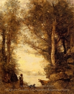 Flute Player at Lake Albano painting reproduction, Jean-Baptiste Camille Corot