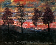 Four Trees painting reproduction, Egon Schiele