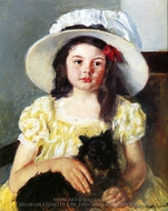 Francoise with a Black Dog painting reproduction, Mary Cassatt