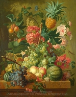 Fruit and Flowers painting reproduction, Paulus Theodorus Van Brussel