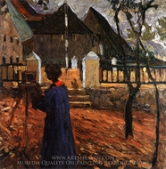 Gabriele Munter Painting in Kallmunz painting reproduction, Wassily Kandinsky
