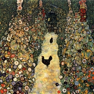 Garden Path with Chickens painting reproduction, Gustav Klimt