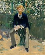 George Moore in the Artist's Garden painting reproduction, Edouard Manet