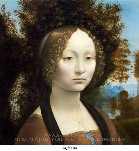 Leonardo Da Vinci, Ginevra de Benci oil painting reproduction