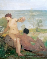 Girl and Boy Picking Flowers painting reproduction, Arnold Bocklin