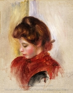 Girl in a Red Scarf painting reproduction, Pierre-Auguste Renoir