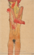 Girl Nude with Folded Arms painting reproduction, Egon Schiele