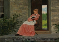 Girl Reading on a Stone Porch painting reproduction, Winslow Homer