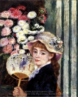 Girl with a Fan painting reproduction, Pierre-Auguste Renoir