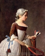 Girl with a Featherball Racket painting reproduction, Jean Simeon Chardin