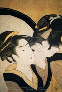 Girl with a Mirror painting reproduction, Kitagawa Utamaro