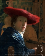 Girl with a Red Hat painting reproduction, Jan Vermeer