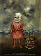 Girl with Death Mask painting reproduction, Frida Kahlo