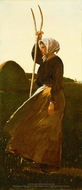 Girl with Pitchfork painting reproduction, Winslow Homer