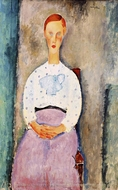 Girl with Polka-Dot Blouse painting reproduction, Amedeo Modigliani