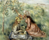Girls Picking Flowers in a Meadow painting reproduction, Pierre-Auguste Renoir