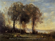 Goatherds on the Borromean Islands painting reproduction, Jean-Baptiste Camille Corot