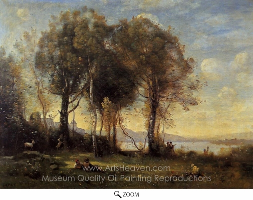 Jean-Baptiste Camille Corot, Goatherds on the Borromean Islands oil painting reproduction