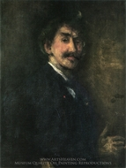 Gold and Brown, Self-Portrait painting reproduction, James McNeill Whistler