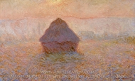 Grainstack, Sun in the Mist painting reproduction, Claude Monet