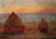 Grainstacks, Sunset painting reproduction, Claude Monet
