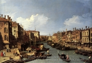 Grand Canal: Looking South-West from the Rialto Bridge to the Palazzo Foscari painting reproduction, Canaletto