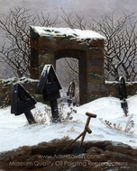 Graveyard Under Snow painting reproduction, Caspar David Friedrich