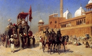 Great Mogul and His Court Returning From the Great Mosque at Delhi painting reproduction, Edwin Lord Weeks