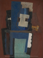 Guitar and Clarinet on a Mantelpiece painting reproduction, Pablo Picasso (inspired by)