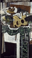 Guitar and Still Life on a Mantelpiece painting reproduction, Georges Braque