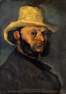 Gustave Boyer in a Straw Hat painting reproduction, Paul Cezanne