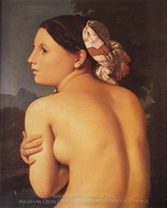Half-figure of a Bather painting reproduction, Jean Auguste Dominique Ingres