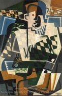 Harlequin with Guitar painting reproduction, Juan Gris