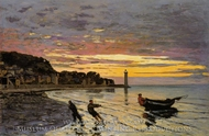 Hauling a Boat Ashore, Honfleur painting reproduction, Claude Monet