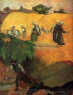 Haymaking in Brittany painting reproduction, Paul Gauguin
