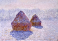 Haystacks (Effect of Snow and Sun) painting reproduction, Claude Monet