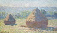 Haystacks, end of Summer painting reproduction, Claude Monet