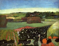 Haystacks in Britanny (The Potato Field) painting reproduction, Paul Gauguin