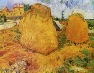 Haystacks in Provence painting reproduction, Vincent Van Gogh