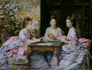 Hearts are Trumps painting reproduction, John Everett Millais