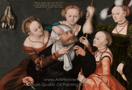 Hercules and Omphale painting reproduction, Lucas Cranach